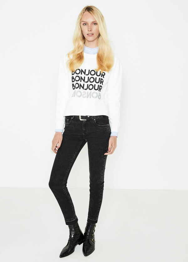 Cotton crop sweatshirt with printed lettering | OVS