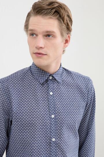 Camicia misto cotone fantasia, Bianco/Blu, hi-res