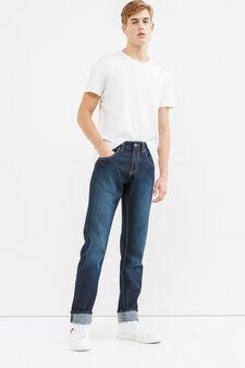 Jeans straight fit delavati con risvolto, Lavaggio scuro, hi-res