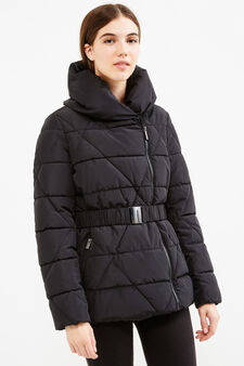 Down jacket with high neck and belt, Black, hi-res