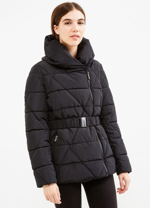 Down jacket with high neck and belt | OVS