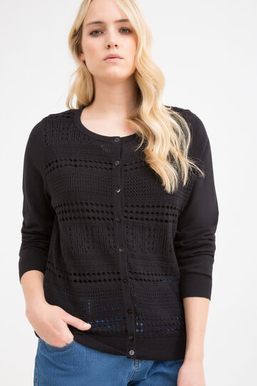 Curvy openwork cotton cardigan, Black, hi-res