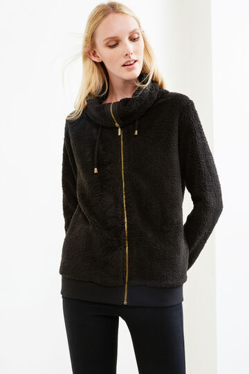 Faux fur sweatshirt with high neck and drawstring, Black, hi-res