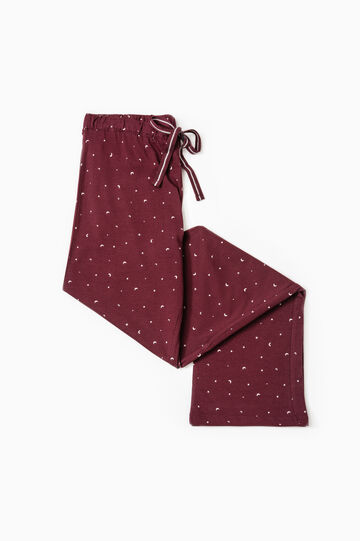 Cotton patterned pyjama trousers, Aubergine, hi-res