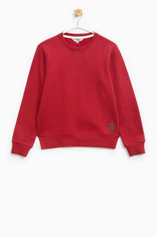 Sweatshirt in cotton with print on hem, Claret Red, hi-res