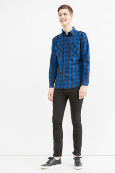 Slim-fit check casual shirt, Black/Blue, hi-res