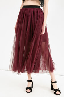 Long tulle skirt, Aubergine, hi-res