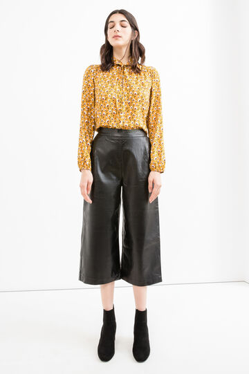 Eco-leather gaucho trousers, Black, hi-res