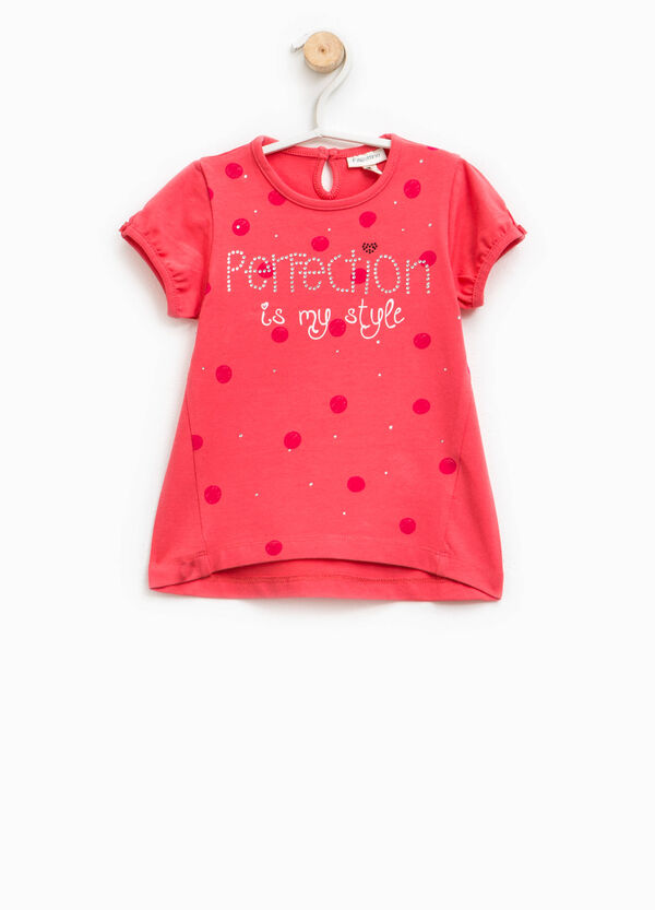 Cotton T-shirt with pattern and diamantés | OVS