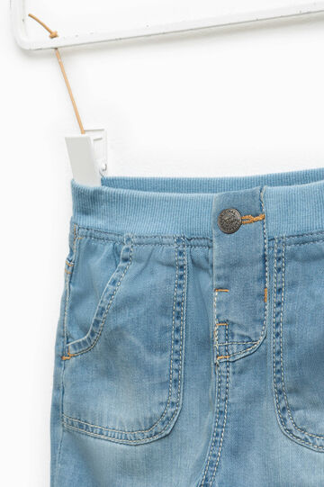 Denim Bermuda shorts with faded effect, Soft Blue, hi-res