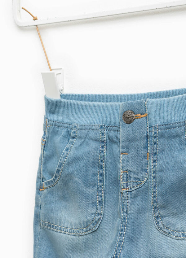 Denim Bermuda shorts with faded effect | OVS