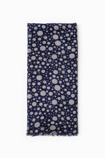 Scarf with all-over print, Grey/Blue, hi-res