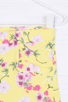 Floral stretch shorts, Yellow, hi-res