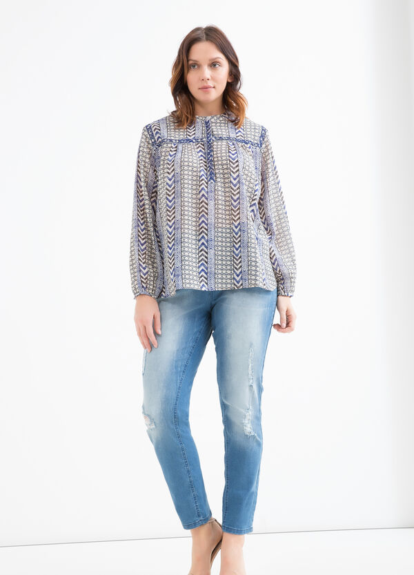 Curvy blouse with diamantés and print | OVS
