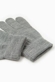 Solid colour gloves with ribbing, Grey Marl, hi-res