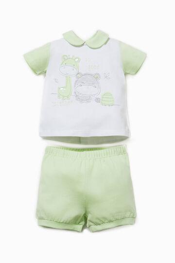 T-shirt and shorts set, White/Green, hi-res