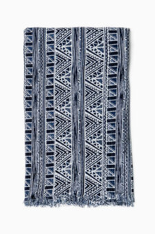 Pashmina with ethnic pattern, Navy Blue, hi-res