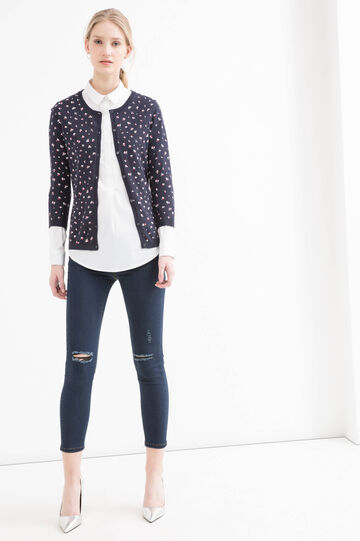 100% cotton printed cardigan, Navy Blue, hi-res