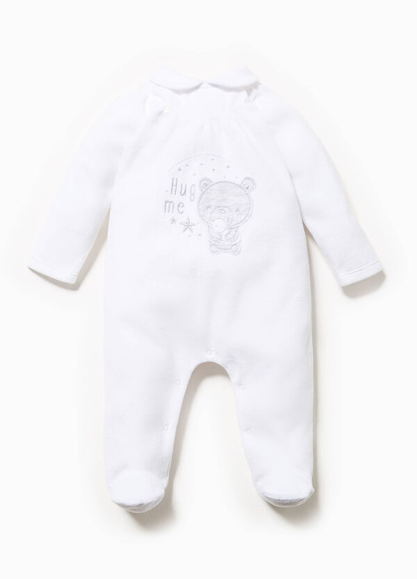 Onesie in solid colour velour with patches | OVS