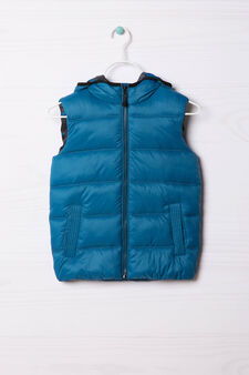 Camouflage quilted and hooded waistcoat, Blue, hi-res