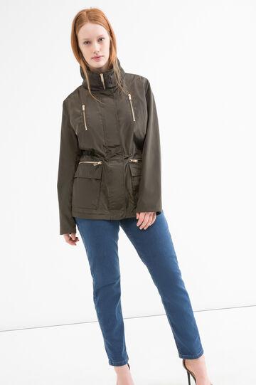 Curvy parka with zipper pockets., Army Green, hi-res