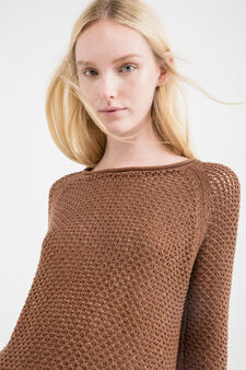 Long knitted pullover with three-quarter sleeves, Cognac Brown, hi-res