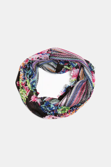 Circle scarf with Lurex threads, Black, hi-res