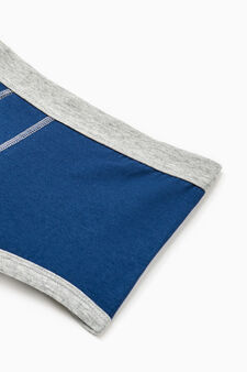 Solid colour stretch cotton boxer shorts, Navy Blue, hi-res