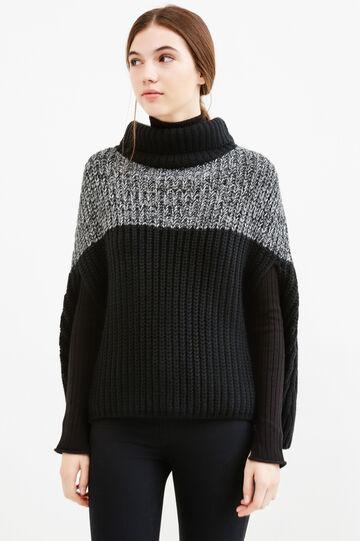 Poncho tricot a trecce collo alto, Nero, hi-res