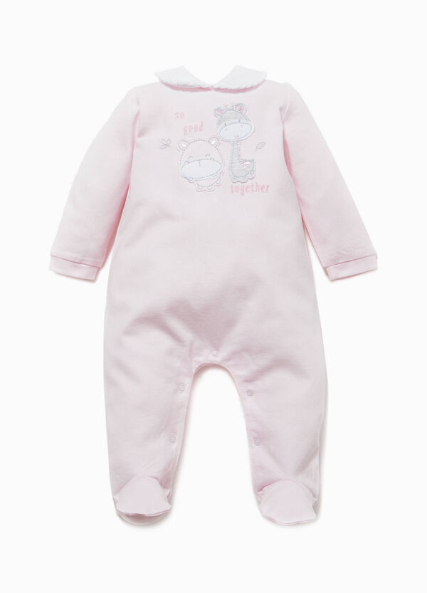 Cotton onesie with flounces and embroidery | OVS