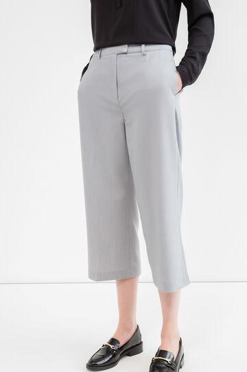 Pantaloni crop viscosa stretch, Grigio, hi-res