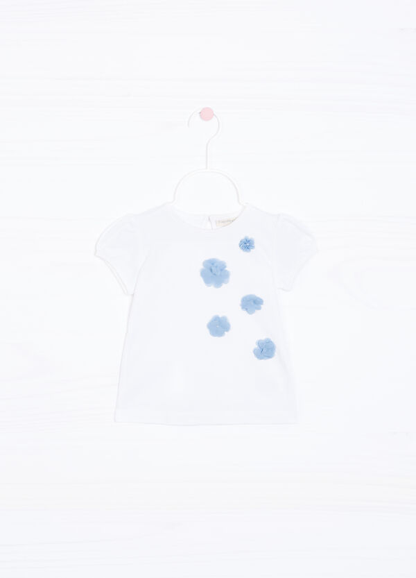 Stretch T-shirt with appliqué flowers | OVS