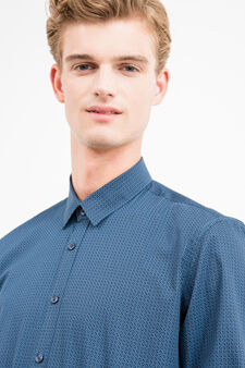 Slim-fit casual shirt with pattern, Blue/Light Blue, hi-res