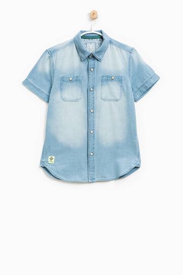 Camicia in puro cotone effetto delavato, Blu chiaro, hi-res
