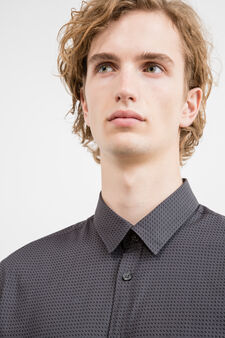 Slim-fit casual shirt with pattern, Dark Grey, hi-res