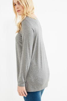 Curvy viscose T-shirt with glitter print, Grey Marl, hi-res