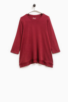 Smart Basic cotton T-shirt with lace, Red, hi-res