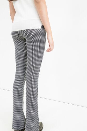 Leggings stretch stampa all-over, Nero/Bianco, hi-res