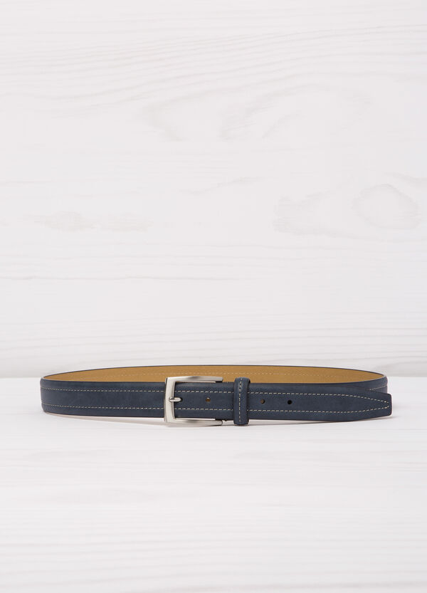 Leather look belt with contrasting colour stitching | OVS