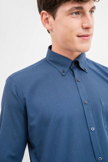 Slim-fit formal shirt with button down collar, Dark Blue, hi-res