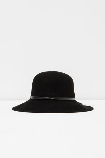 Wide-brimmed hat with bands, Black, hi-res