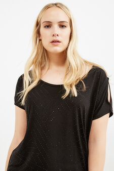Curvy T-shirt in stretch viscose with diamantés, Black, hi-res