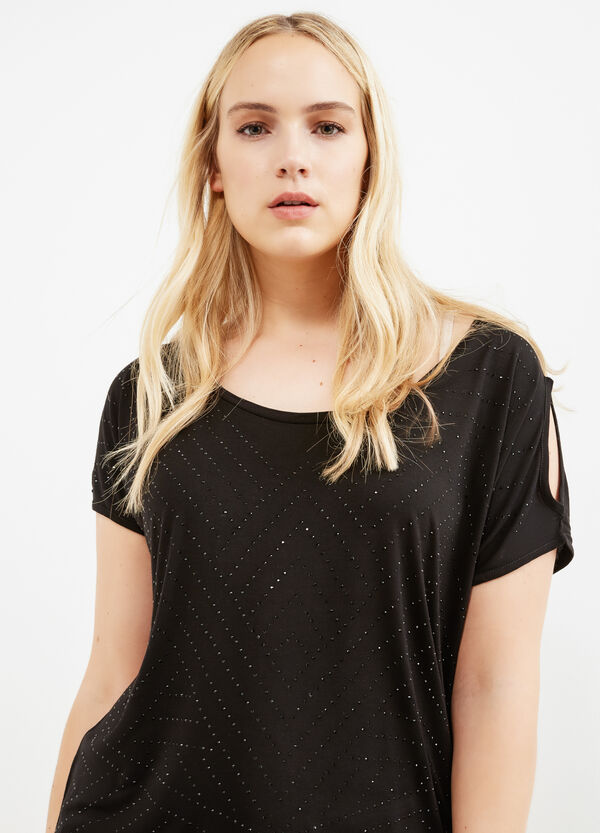 Curvy T-shirt in stretch viscose with diamantés | OVS