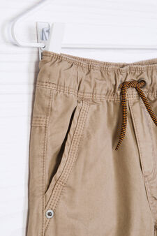 Cotton shorts with contrasting band., Beige, hi-res