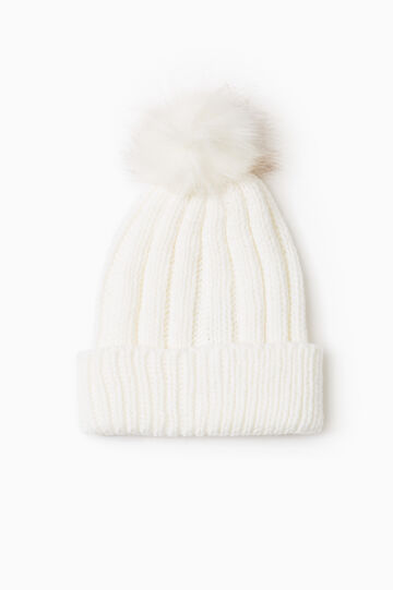 Knit beanie cap with pompom, Cream White, hi-res