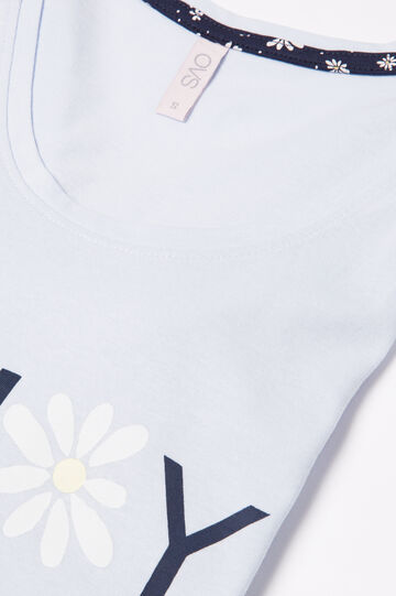 Pigiama puro cotone stampa lettering, Viola lilla, hi-res