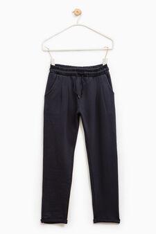 Pantaloni tuta in puro cotone, Blu scuro, hi-res