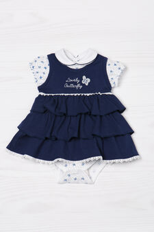 Cotton bodysuit and dress outfit, White/Blue, hi-res