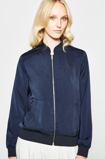 V-neck bomber jacket, Blue, hi-res