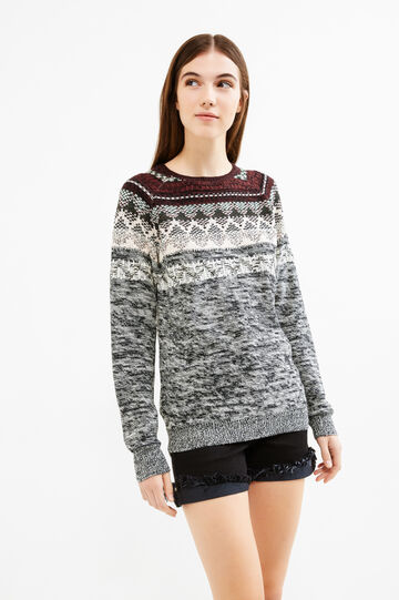 Knitted pullover with contrasting embroidery, Black, hi-res